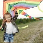 Kid flying a kite