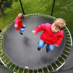 2 kids on 8ft trampoline