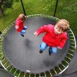 2 kids on 8ft trampoline