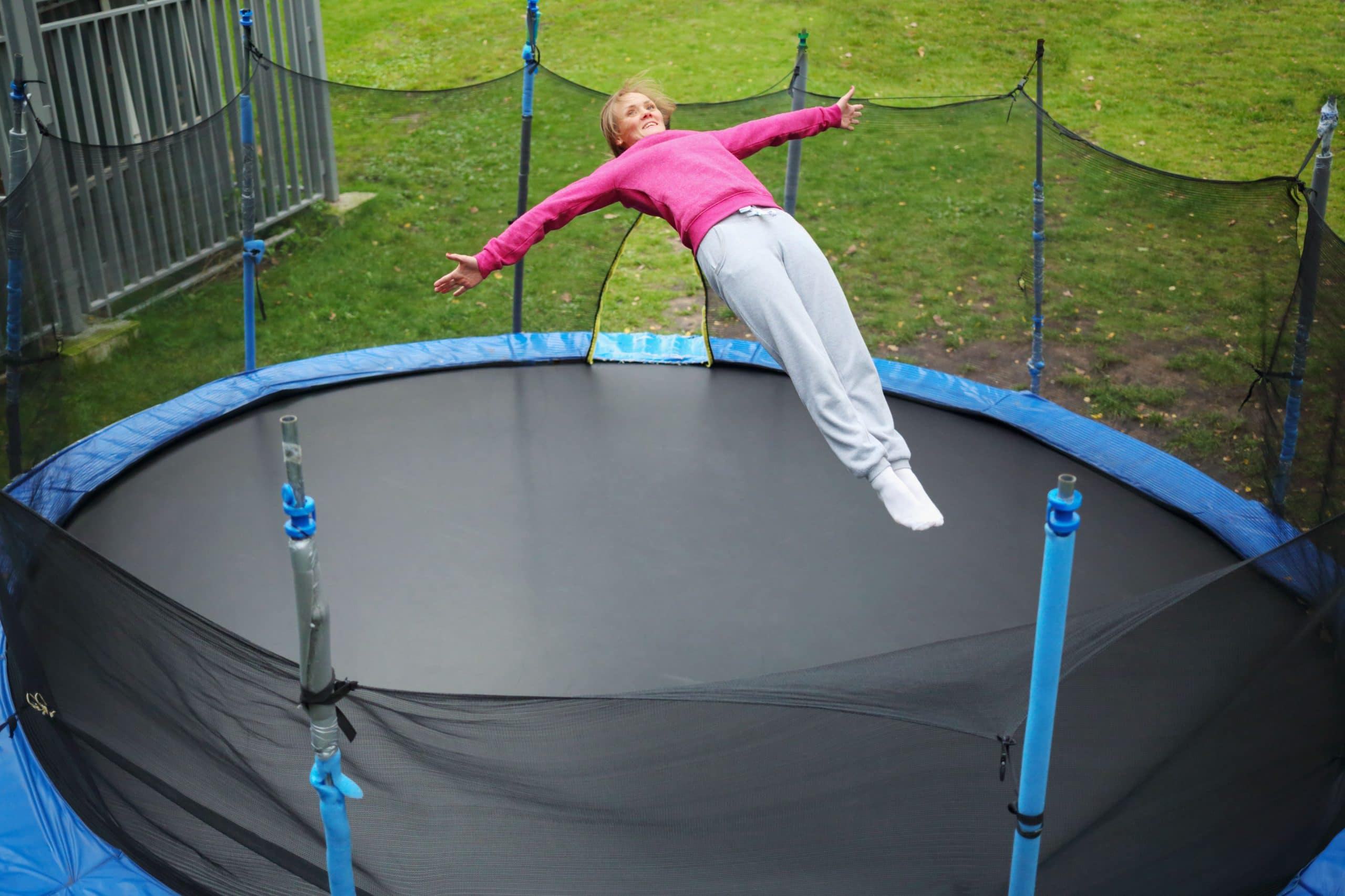 Girl on 10ft trampoline